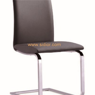 Chromed Frame Synthetic Leather Upholstered Dining Chair
