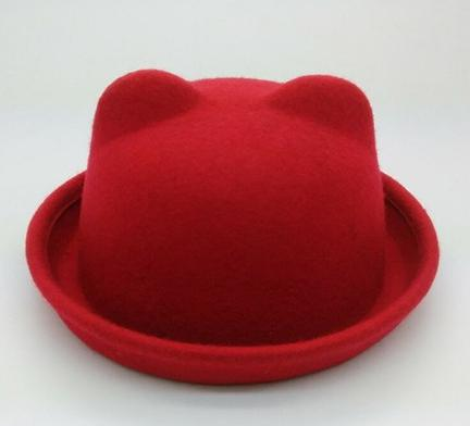 lovely children cat ear wool felt bowler hat