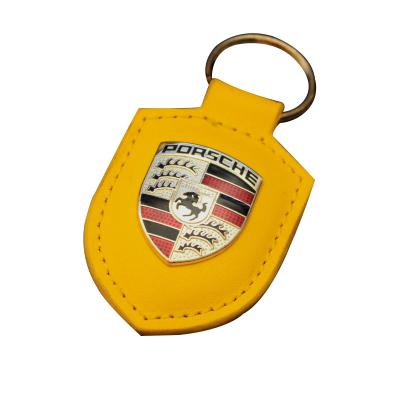 Metal Car Logo Keychain With Leather