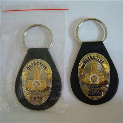 Promotional Police Leather Keychain