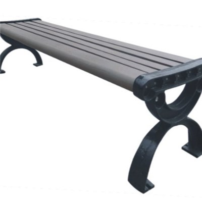 Portable WPC Garden Bench With Cast Aluminum Legs