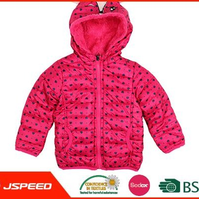 Cute Printed Girls Hooded Quilted Jacket Made In China