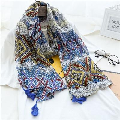 Made In China Low Price Fashion Bohemian Style Women Printed Stoles With Tassels