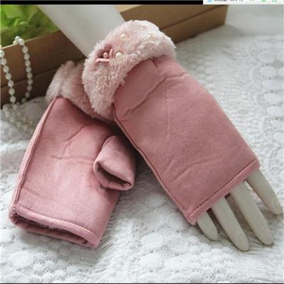 Work Gloves Manufacturers Pink Fur and Flower White Pearl Fashion Women Suede Fingerless Gloves