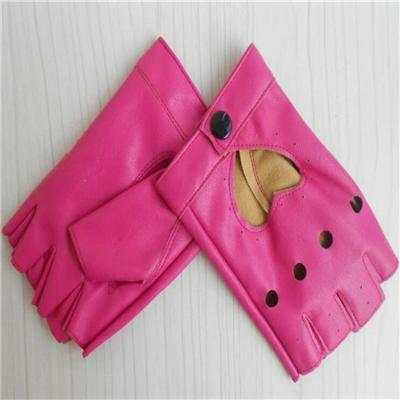 Wholesale Fashion Hollowed Out of Heart Peach - Pink Women PU Fingerless Gloves