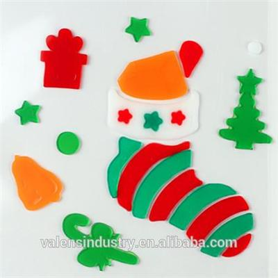 OEM Wholesale Customized Design Magic Removable Santa Claus Christmas Tree Jelly Gel Gems Art Glass Window Sticker