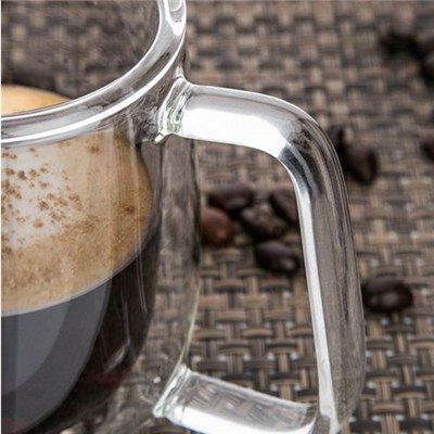 200ml Clear Dual Layer High Borosilicate Glass Cup Heat Resistant Coffee Tea Cup Milk Water Mug Home Drinkware