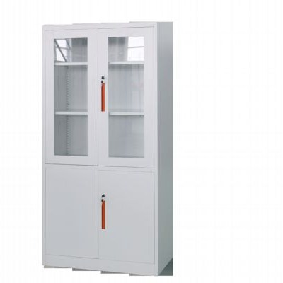 Office Modern Glass And Steel Swing Doors Cupboard