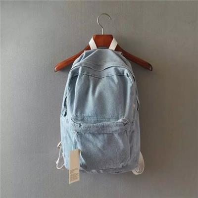 Vintage Wash Distressed Denim Jeans Backpack School Casual Travel Bag UniSex