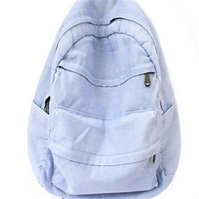 Blue Women Washed Vintage Look Jeans Backpack