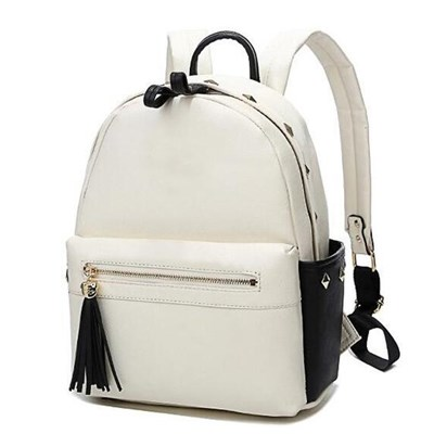 Front Zipper Pocket With Tassel Fashion Rivets School Backpack