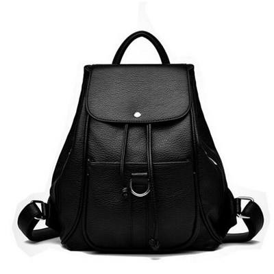 Black Color Flap Leather Backpack