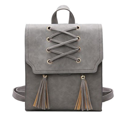 Women Fashion Casual PU School Tassel Backpack