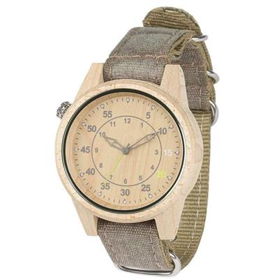 Changeable Canvas Strap Custom Bamboo Wood Mens Watches