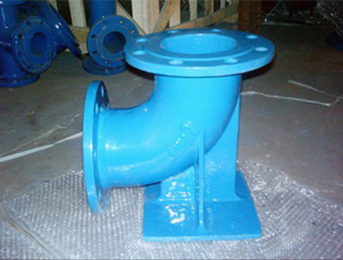 metal casting ductile iron fcd550 double flange with duckfoot short radius 90 bend/elbow