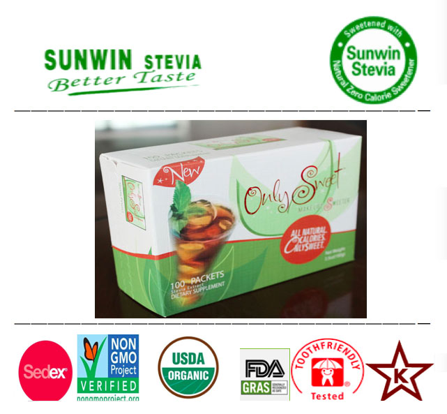 Natural low calorie NOP organic dietary supplement use stevia leaves P.E 90 percent