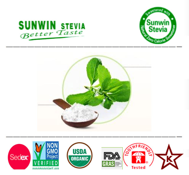 Natural low calorie food use, gras, NOP organic stevia leaves extract Reb-A 80 percent, TSG 95 percent