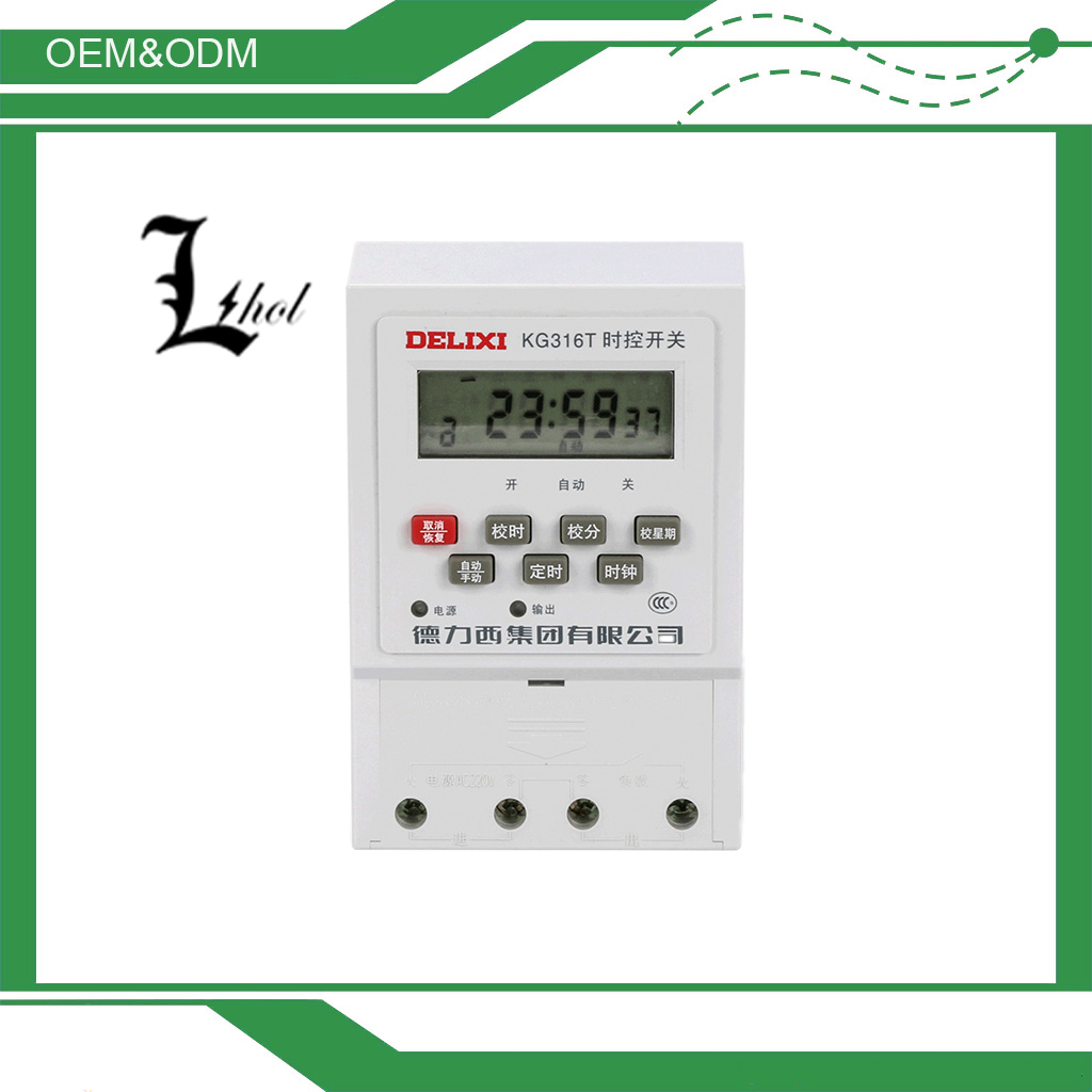 High Cost Performance Delixi LCD 25A 250VAC Digital Time Switch KG316T
