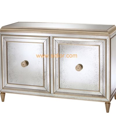 Silver Leaf Wood Lobby Home Console Table With Doors