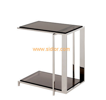Home Hotel Furniture Chrome Metal Frame Glass Coffee Table