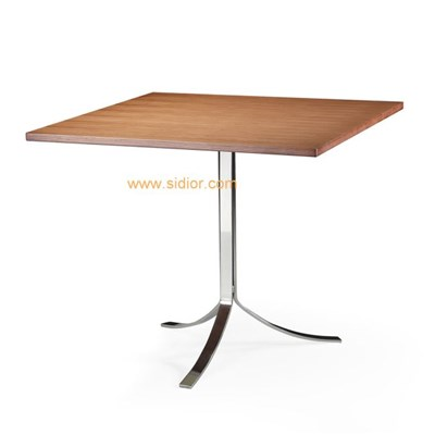 Hotel Restaurant Steel Base Wooden Square Dining Table