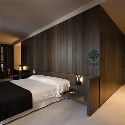 Wooden Oak Headboards And Frame In King Size With Nightstand For Hotel Bedroom