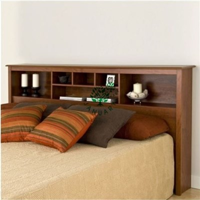 Wood Bookcase Headboards In Double Size Attached With Platform Storage Bed Base For Apartment Standard Room
