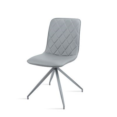 Fashionable Chairs In Grey Leather With Grey Powder Coated Legs