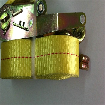 Polyester ratchet tie down strap for cargo lashing securing heavy loads