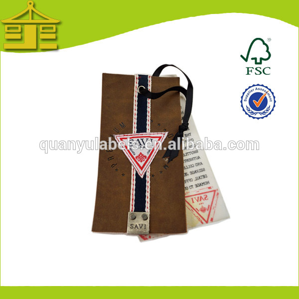 Custom famous brands hole punch recycled luxury paper hang tags