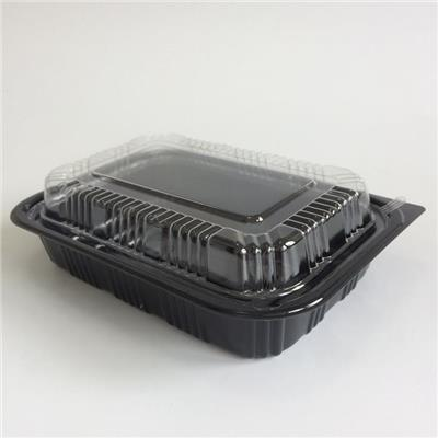 Large Black Plastic Disposable Japanese Bento Lunch Box For Office