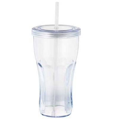 Cola Shape16oz Double Wall Straw Tumblers Clear Plastic Double Wall Plastic Cola Tumbler With Straw