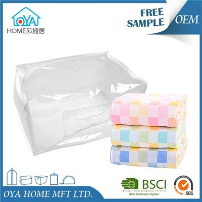 Plastic Transparent Zippered Small Storage Bags For Bedding Blankets