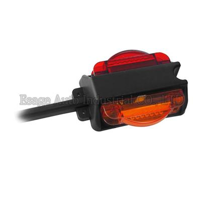 Pre-wired Red&Amber Dual LED Trailer Fender Clearance Side Marker Lights Left W/ 2x7 LEDs