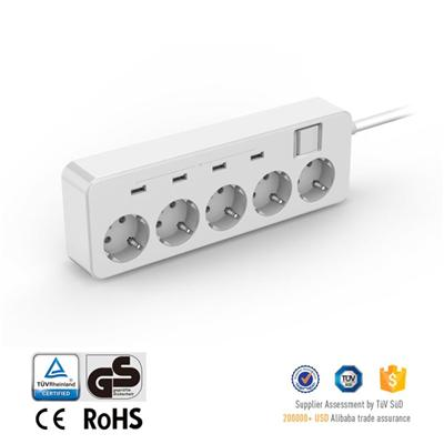 German Type Extension Socket Power Strip With 4 Port USB Output