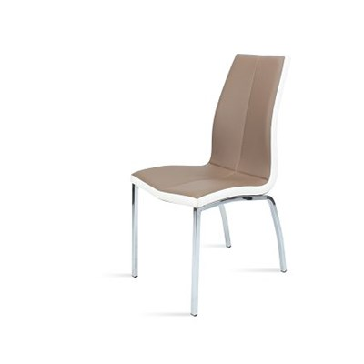 Dining Chairs In Cappuccino Leather With White Border With Chromed Tube