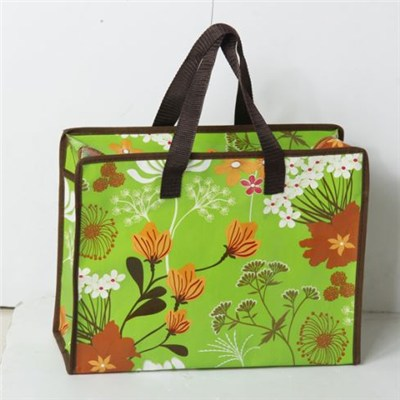 Black Reusable Non-Woven Foldable Zippered Shopping Bag
