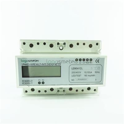 2 Tariffs Metering Three Phase Energy Meter Din Rail Type