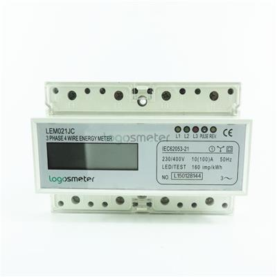 LCD Display Din Rail 3 Phase 4 Wire Electronic Energy Meter
