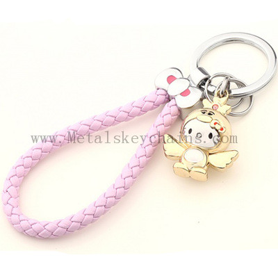 Valentine's Day Couple Key Chain Lovely Katie Golden Cute Chicken KT Car Pendant Chicken