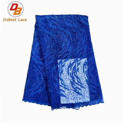 Blue 3D Lace Embroidered Fabric