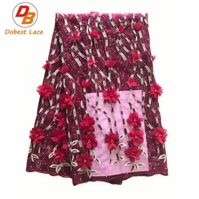 3D Lace Fabric With Chiffon Flower