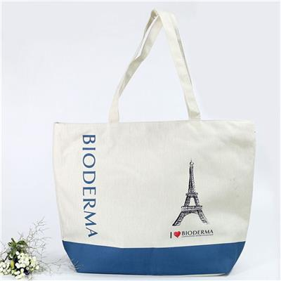 Fashion Large Size White Zipper Cotton Shopping Bag And Zipper Canvas Bag