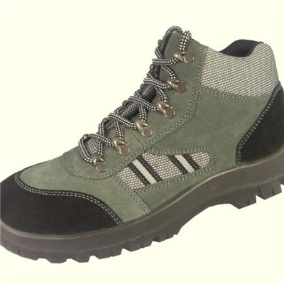 Suede Leather Steel Toe Cap Injection Safety Shoes