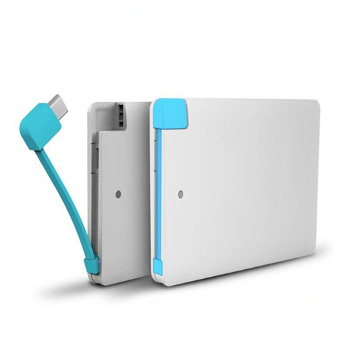 Mobile charger with built-in cable power bank 2500mah for promotional gifts