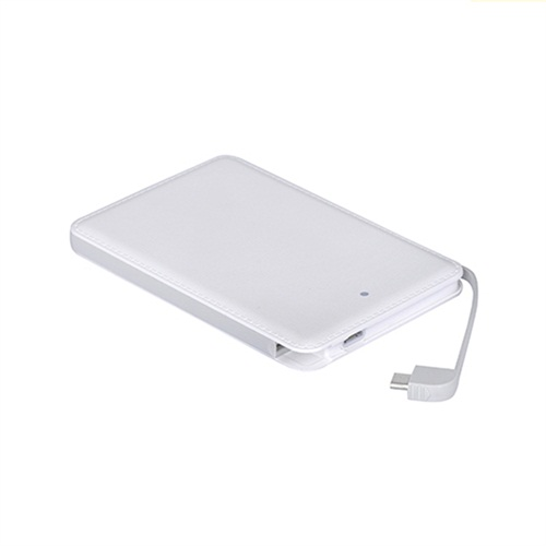 Leather card  power bank 5000mah with built-in cable mobile power supply