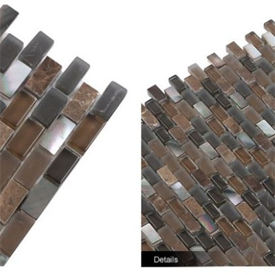 Brown Strip Frosted Glass Mix Pinctada Margarilifera Stone Mosaic