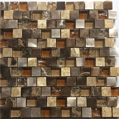 Hot Sale Mix Material Glass Aluminum And Stone Mosaic For Background