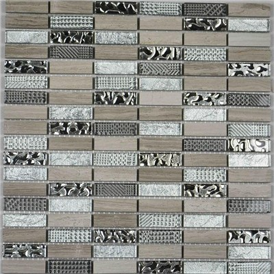 China Foshan Mosaic Factory Crystal Glass And Stone Mosaic