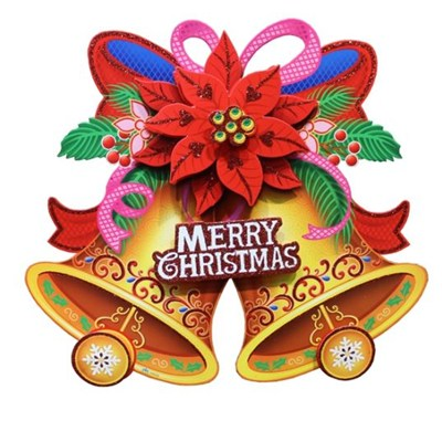 2017 New Christmas Candle Wreath Reindeer Cart Bell And Dog Paper Sticker For Indoor Or Outdoor Decoration